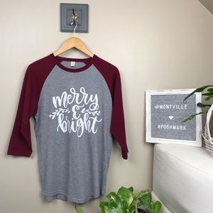 Merry & Bright Graphic Tee Baseball Shirt Medium